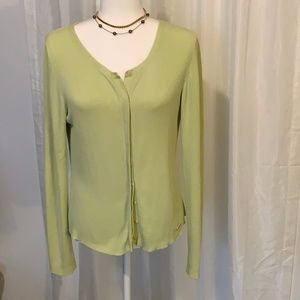Tommy Bahama Long Sleeve Silk Blend Green Top L